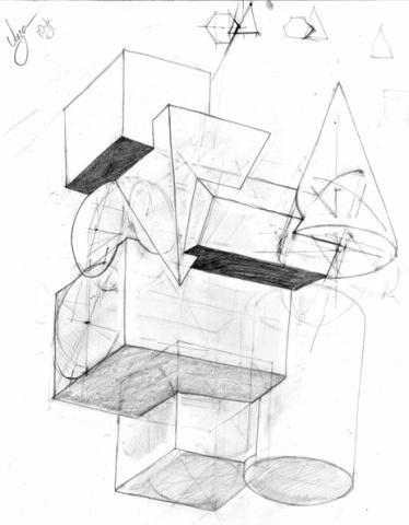 Объемная композиция из геометрических тел - Санкт